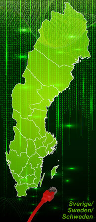 sverige: Map of Sweden with borders in network design