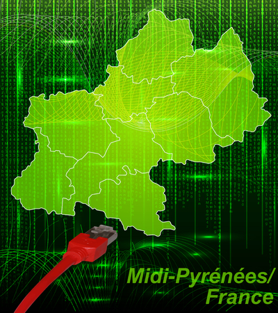 toulouse: Map of Midi-Pyrenees with borders in network design Stock Photo
