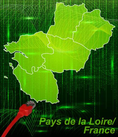 lan: Map of Pays de la Loire with borders in network design