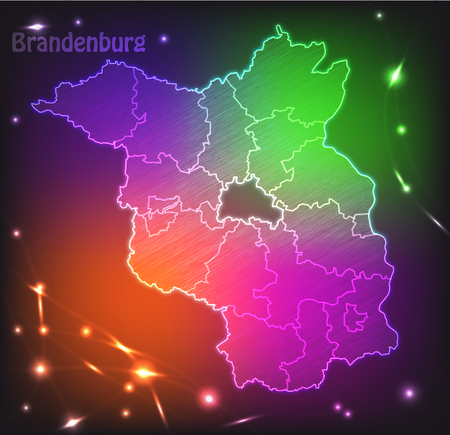 falkensee: Map of Brandenburg with borders as colorful scribbble