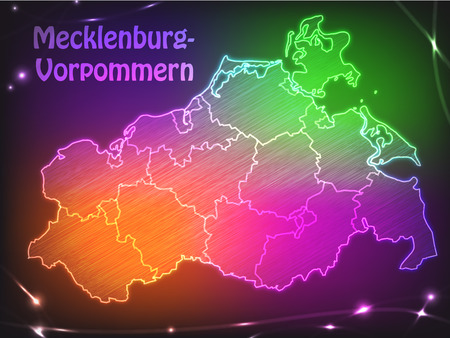 greifswald: Map of Mecklenburg-Western Pomerania with borders as colorful scribbble