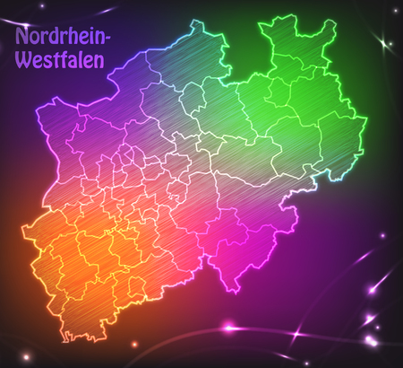 north rhine westphalia: Map of North Rhine-Westphalia with borders as colorful scribbble Stock Photo