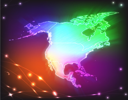 kingston: Map of North America with borders as colorful scribbble