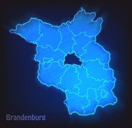 Map of Brandenburg with borders as scrible photo