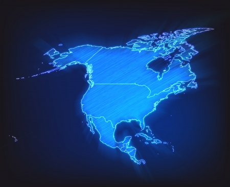 north america: Map of North America with borders as scrible Stock Photo