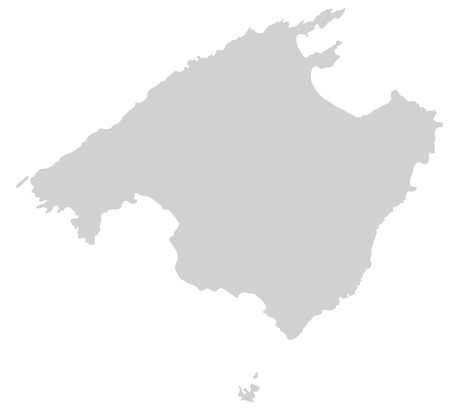 Map of mallorca with borders in gray