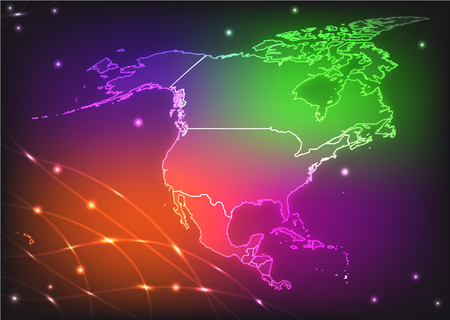 kingston: Map of North America with borders with bright colors