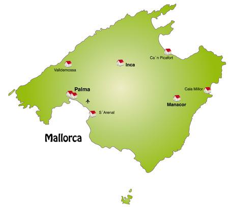majorca: Map of mallorca as an infographic in green