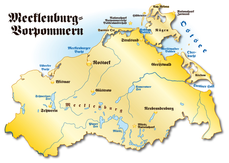 cartographer: Map of Mecklenburg-Western Pomerania as an overview map in gold