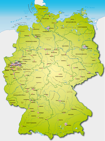 cartographer: Map of Germany as an overview map in green