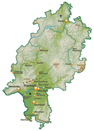 frankfurt germany: Map of Hesse as an overview map with shading