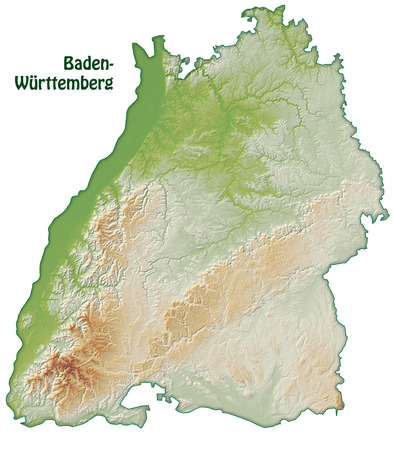 stuttgart: Map of Baden-Wuerttemberg as an overview map with shading Stock Photo