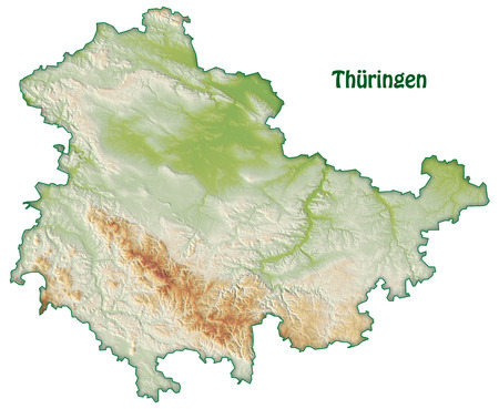 overview: Map of thuringia as an overview map with shading Stock Photo