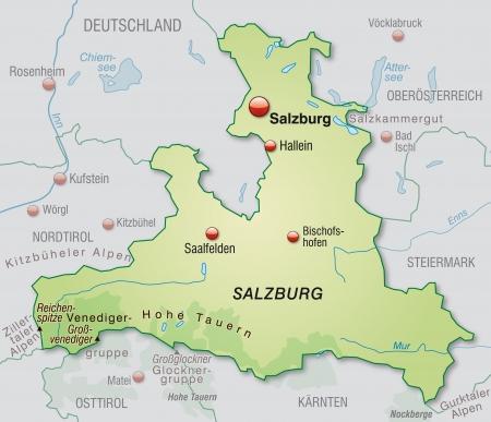 saalfelden: Map of salzburg as an overview map in pastel green