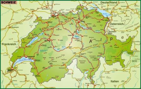 switzerland: Map of Switzerland with highways
