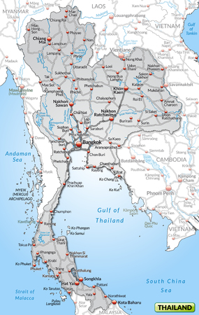 Map of Thailand with highways in gray photo