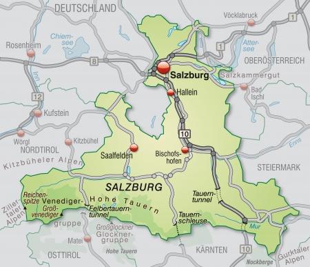 saalfelden: Map of salzburg with highways in pastel green Stock Photo