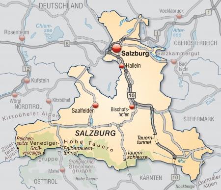 saalfelden: Map of salzburg with highways in pastel orange Stock Photo