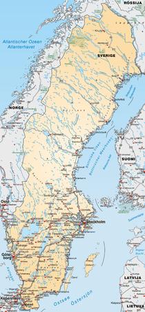 sverige: Map of Sweden with highways in pastel orange