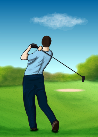 On the golf course Vector
