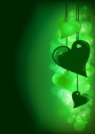 Valentine hearts in green