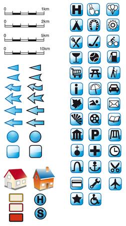 Map Symbols in blue
