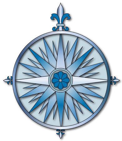 kompassrose: Windrose in blau