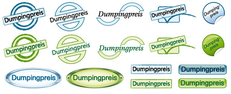 dumping: Buttonset Dumping prices Illustration
