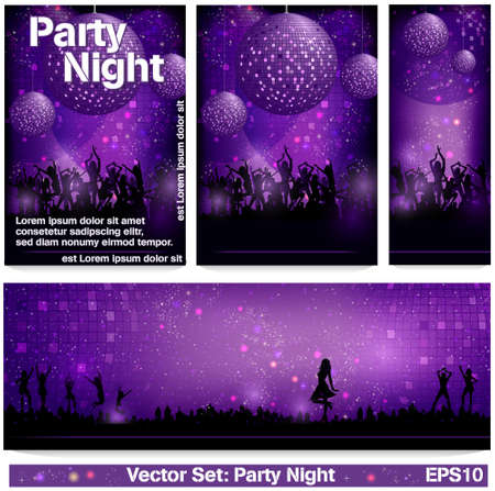 Flyer Set Party Night Vector