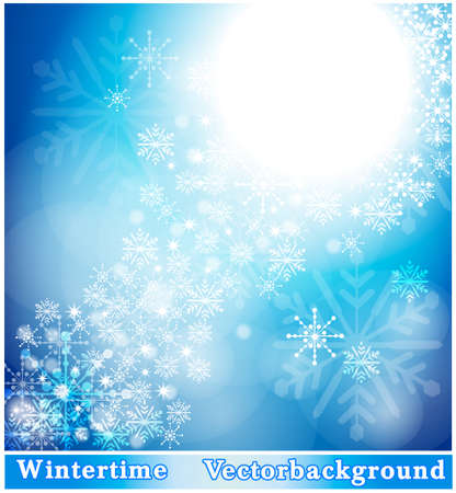 wintry: Wintry background with snowflakes Illustration