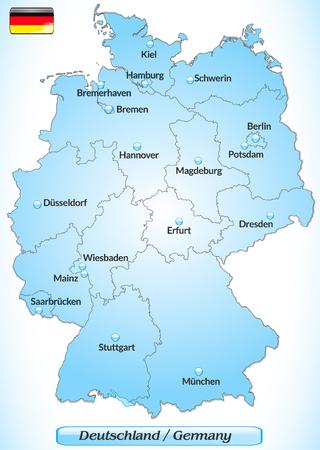 Kaart van Duitsland met de belangrijkste steden in het blauw Stock Illustratie