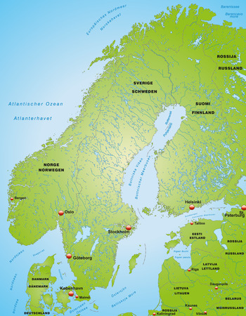 Map of Scandinavia as an overview map in green Illustration