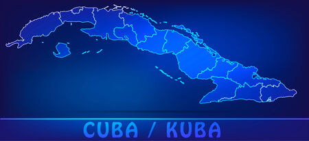 guantanamo: Map of Cuba with borders as scrible Illustration