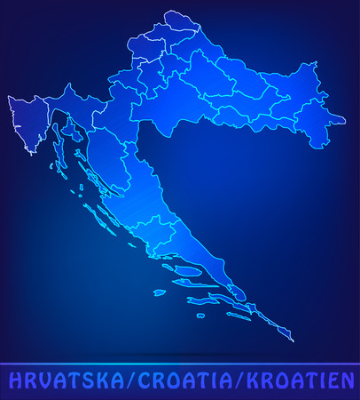 Map of Croatia with borders as scrible