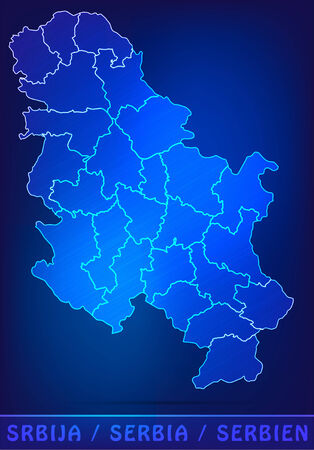 Map of Serbia with borders as scrible