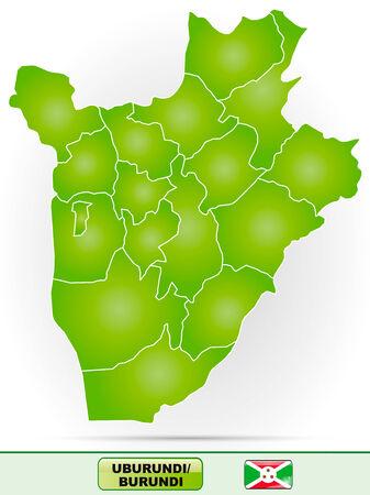 burundi: Map of burundi with borders in green