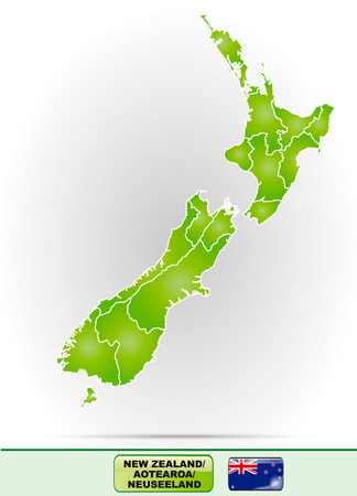hamilton: Map of new zealand with borders in green