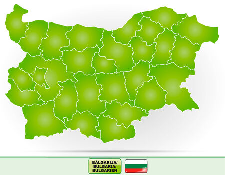 ruse: Map of Bulgaria with borders in green