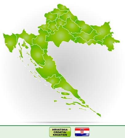 Map of Croatia with borders in green