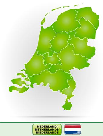 Kaart van Nederland met randen in het groen