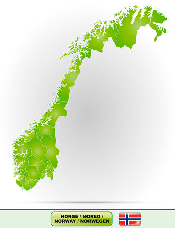 Map of Norway with borders in green