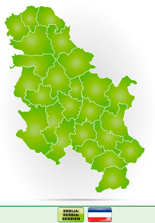 Map of Serbia with borders in green