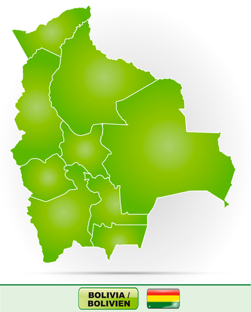 Map of Bolivia with borders in green Illustration