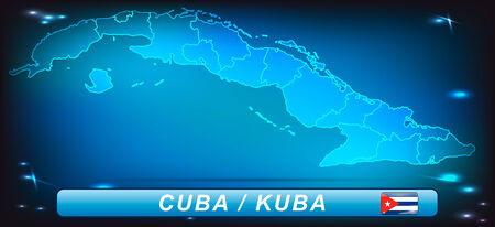 guantanamo: Map of Cuba with borders with bright colors