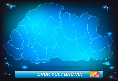 bhutan: Kaart van Bhutan met randen met heldere kleuren Stock Illustratie
