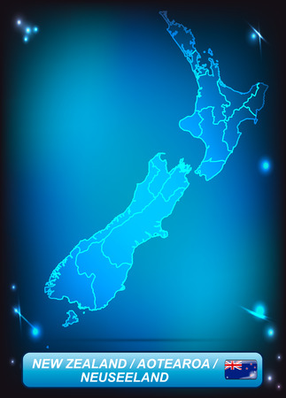 hamilton: Map of new zealand with borders with bright colors