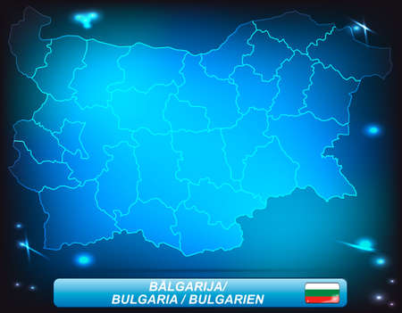 ruse: Map of Bulgaria with borders with bright colors