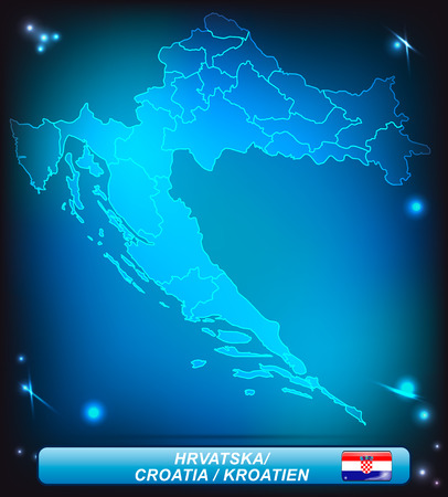 Map of Croatia with borders with bright colors