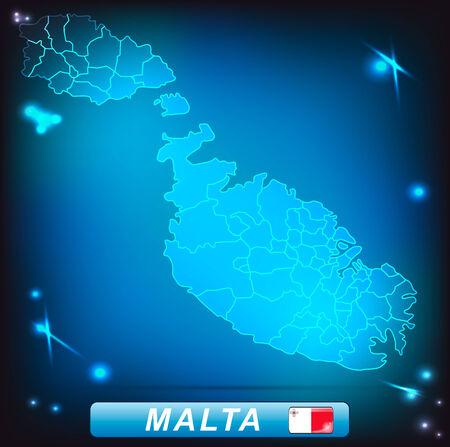 malta: Kaart van Malta met randen met heldere kleuren