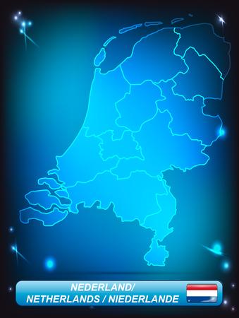 Kaart van Nederland met randen met heldere kleuren